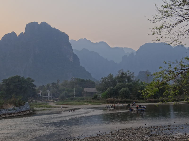 ...nestled beside the Nam Song (Song River) amid stunningly beautiful limestone karst terrain