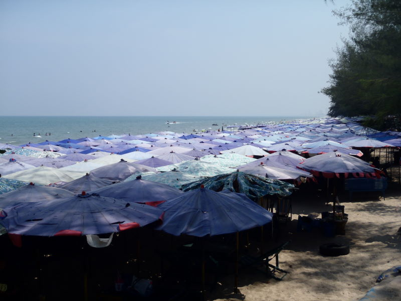 crowded beach in  Cha-am
