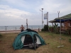 our tent in the garden at the sea front