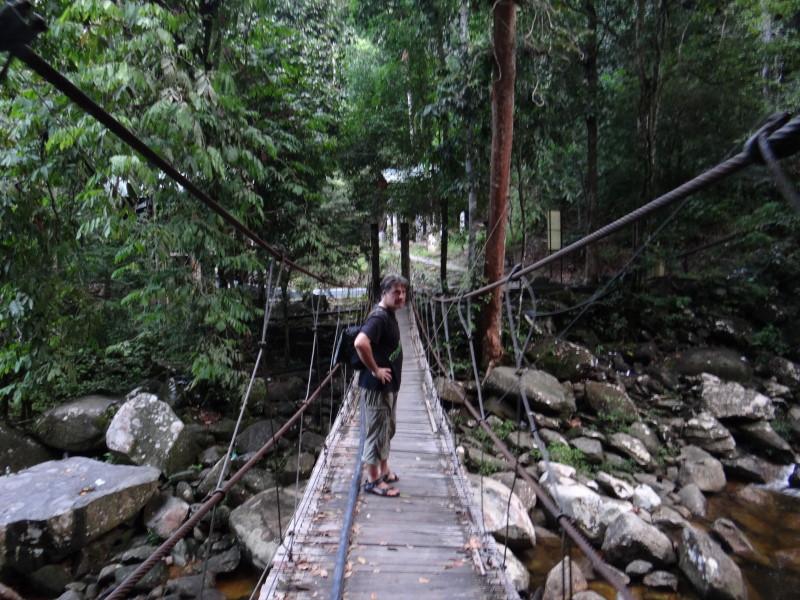 "bridge over the waterfall pool,\""Gunung Stong\"""