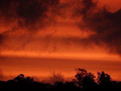 Tawharanui Regional Park, sky on fire