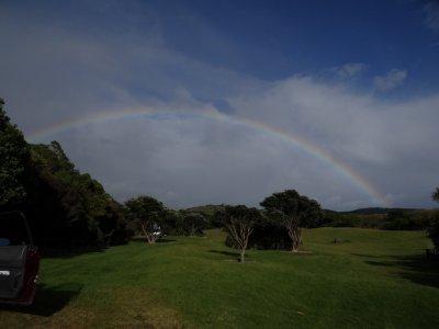 Tawharanui Regional Park, morning rainbow