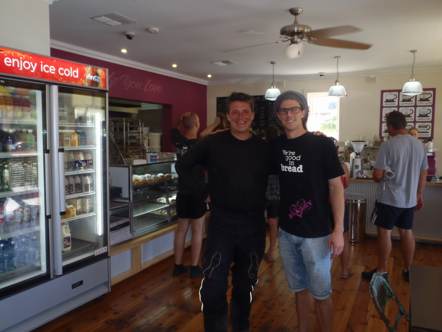 Taff and Sascha in the Bakery, best bakery in town!
