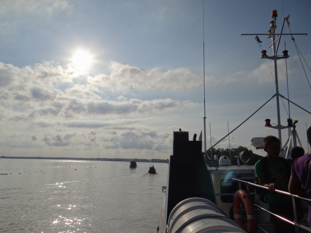 travelling with a flat sea and the sun