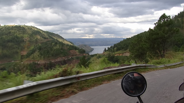 riding down the loops to the lake