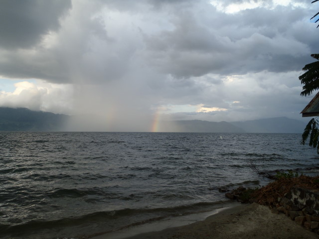 rainbow on the lake - we stayed dry