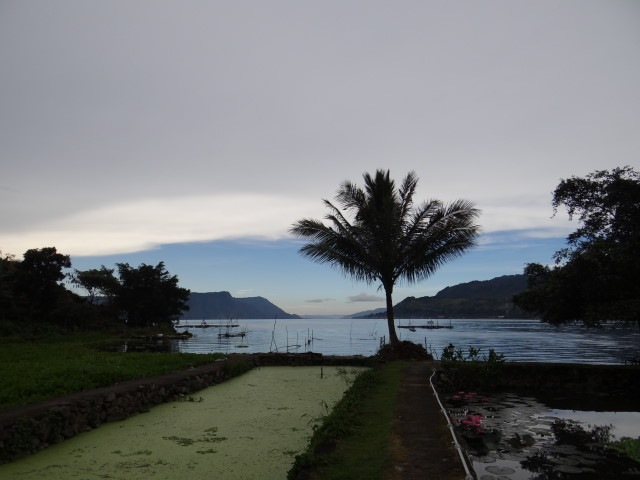 View from our guesthouse in Tuk Tuk, on Samosia isle, Danau Toba, Sumatra