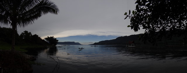 lake view panorama, on Samosia isle, Danau Toba, Sumatra