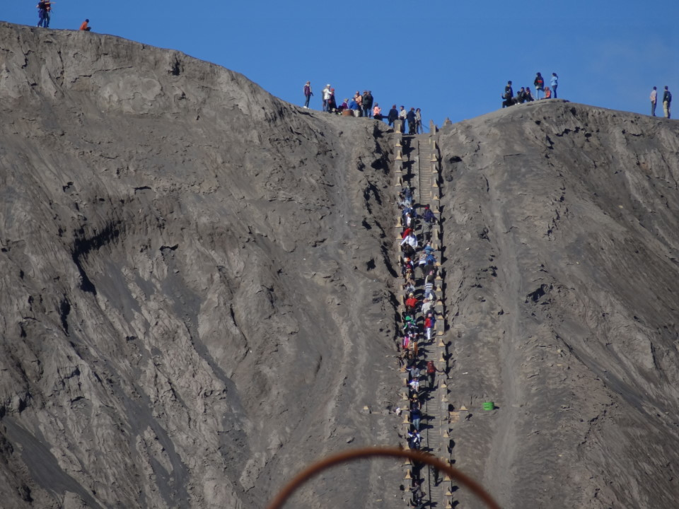 we going up the crater when everybody is coming down