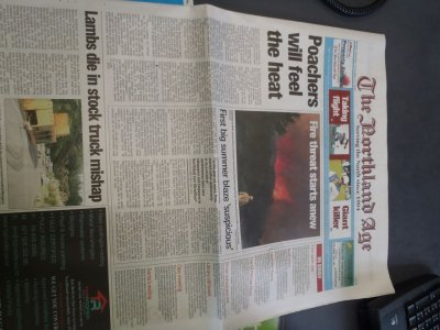 Newspaper - about the fire in Maitai