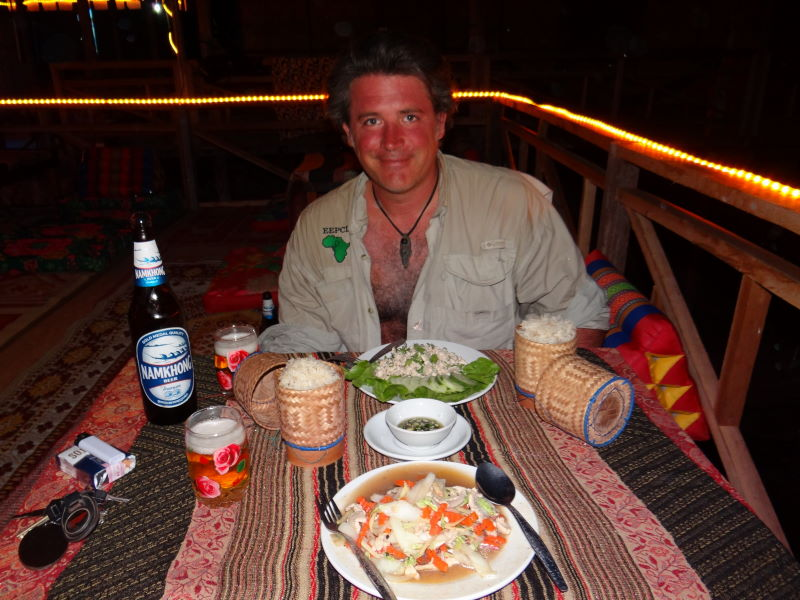 dinner on our veranda over the Mekong,Don Khon, Four Thousand Islands