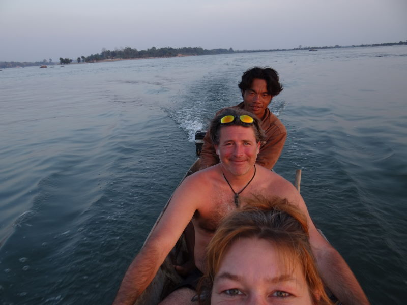 sunset, Mekong boat trip, Don Khon, Four Thousand Islands